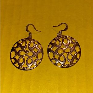 Coach signature C round gold earings
